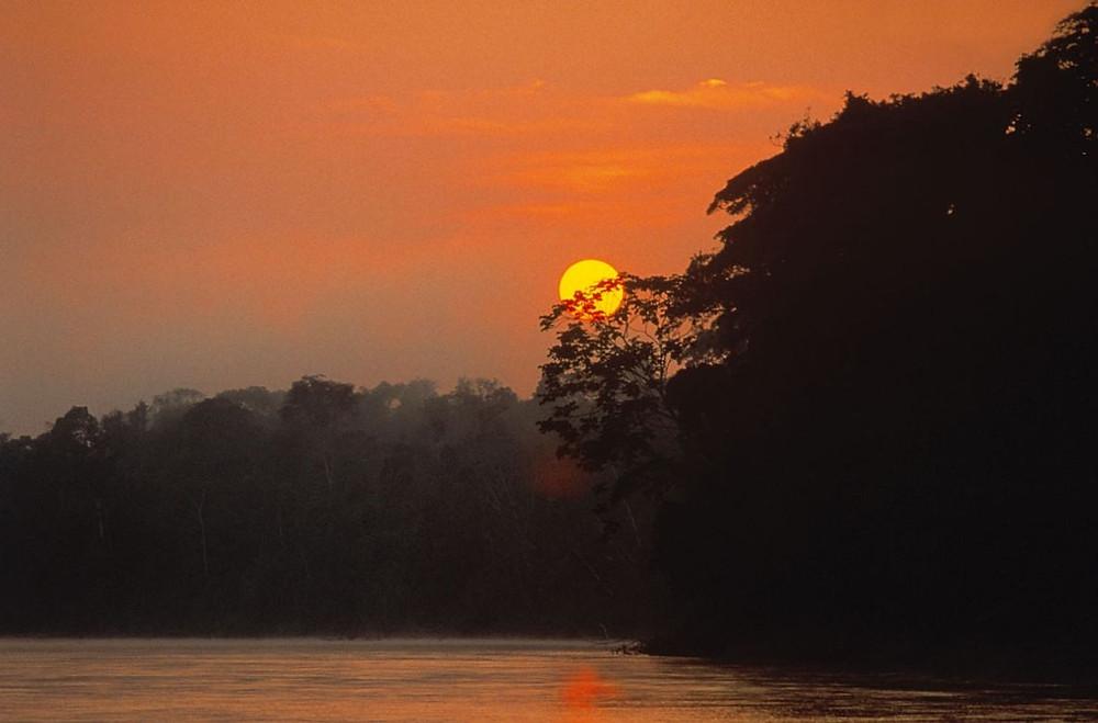 Dusk on the Manu River.