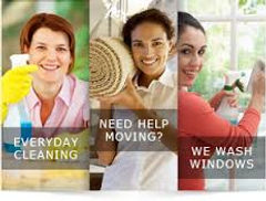Everyday cleaning, Need help moving, we do window washing and carpet cleaning.