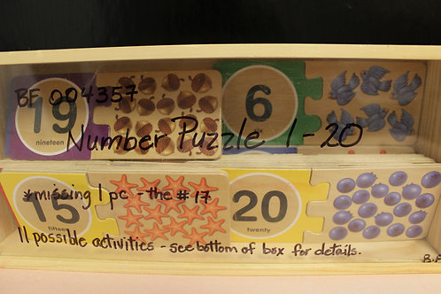 Wooden Number Puzzle 1-20