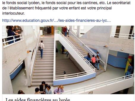 Les aides financières au lycée