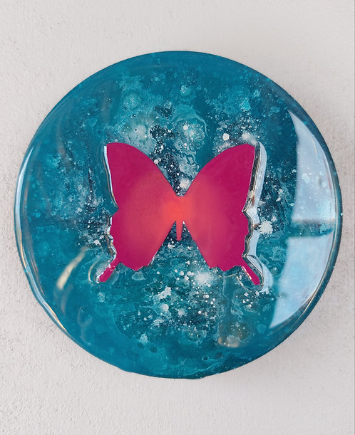 "Butterfly study (5"") turquoise  / pink"
