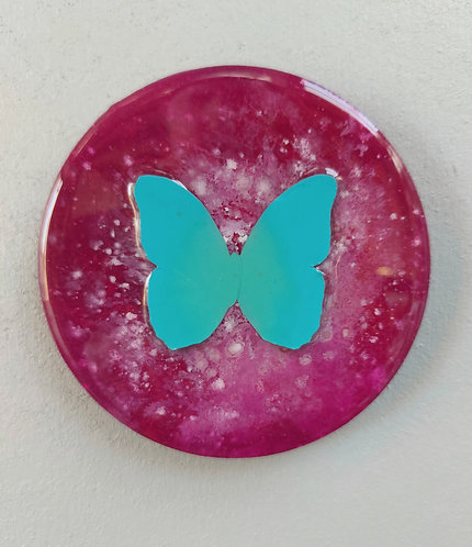 """Butterfly study (5"""") pink / turquoise"""
