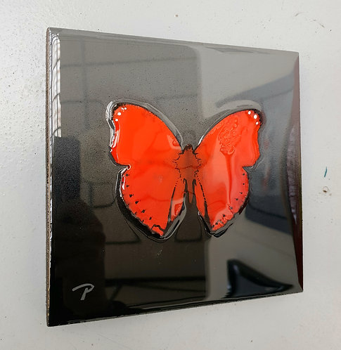 "Red on Grey butterfly 7""×7"""