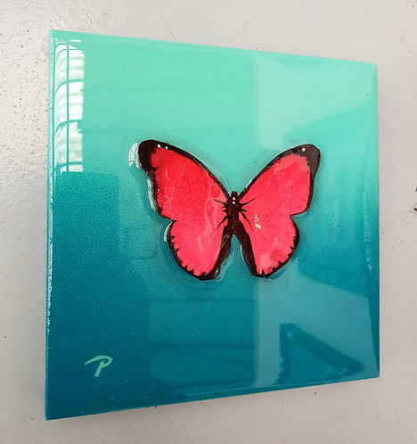 "Pink On Teal Butterfly 7""×7"""