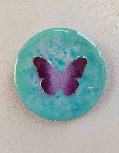 "Butterfly study (5"") turquoise/ purple"