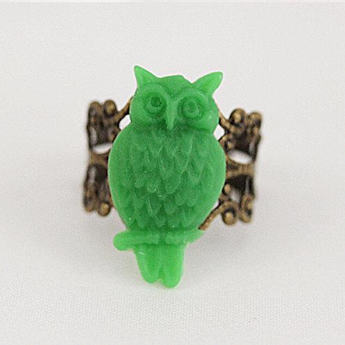 Green Owl Filigree Ring