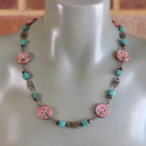 Pink Flower Cloisonné Necklace
