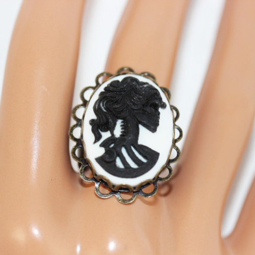 Black and White Skeleton Woman Cameo