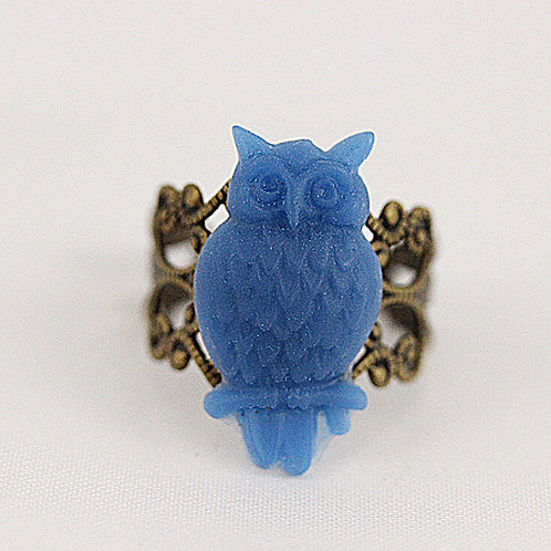 Blue Owl Filigree Ring