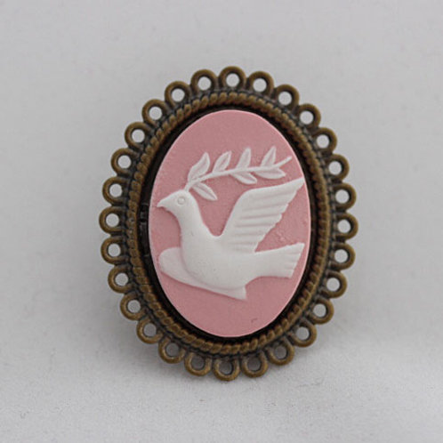 Pink & White Dove Brooch