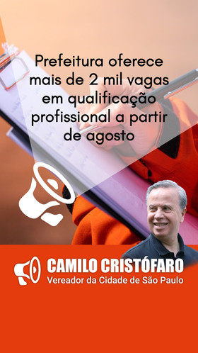 Prefeitura oferece mais de 2 mil vagas em qualificação profissional a partir de agosto