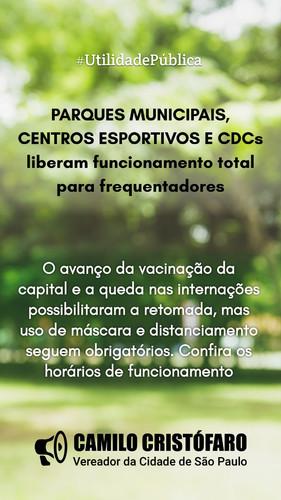 Parques municipais, centros esportivos e CDCs liberam funcionamento total para frequentadores