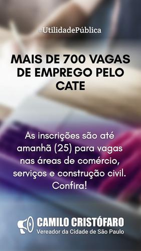 Processo seletivo do Cate conta com mais de 700 vagas nesta semana