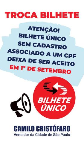 Atenção! Bilhete Único sem cadastro associado a um CPF deixa de ser aceito em 15 dias