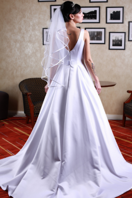 Hand Made Wedding Dress Madame - Elegant A Line Satin Gown | Satin | Size 8