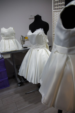 Satin flower girls/bridesmaid dresses with floral lace detail