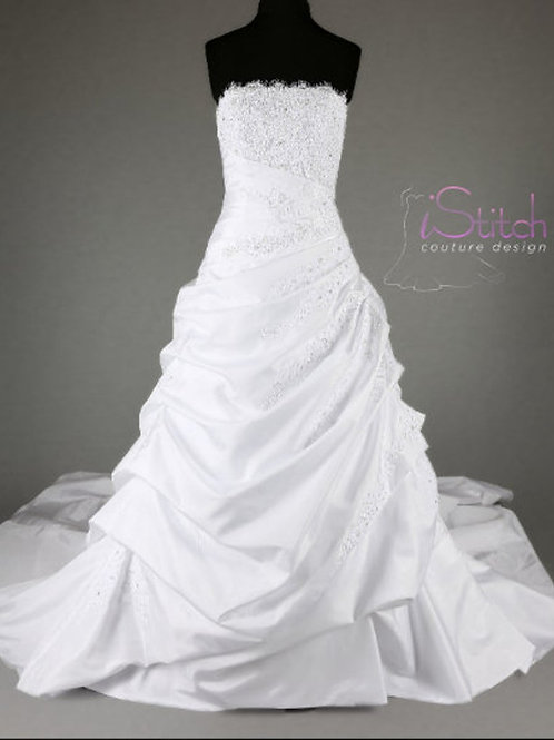 Hand Made Wedding Dress Eleonor - Full Satin Gown with Lace Details   size 10