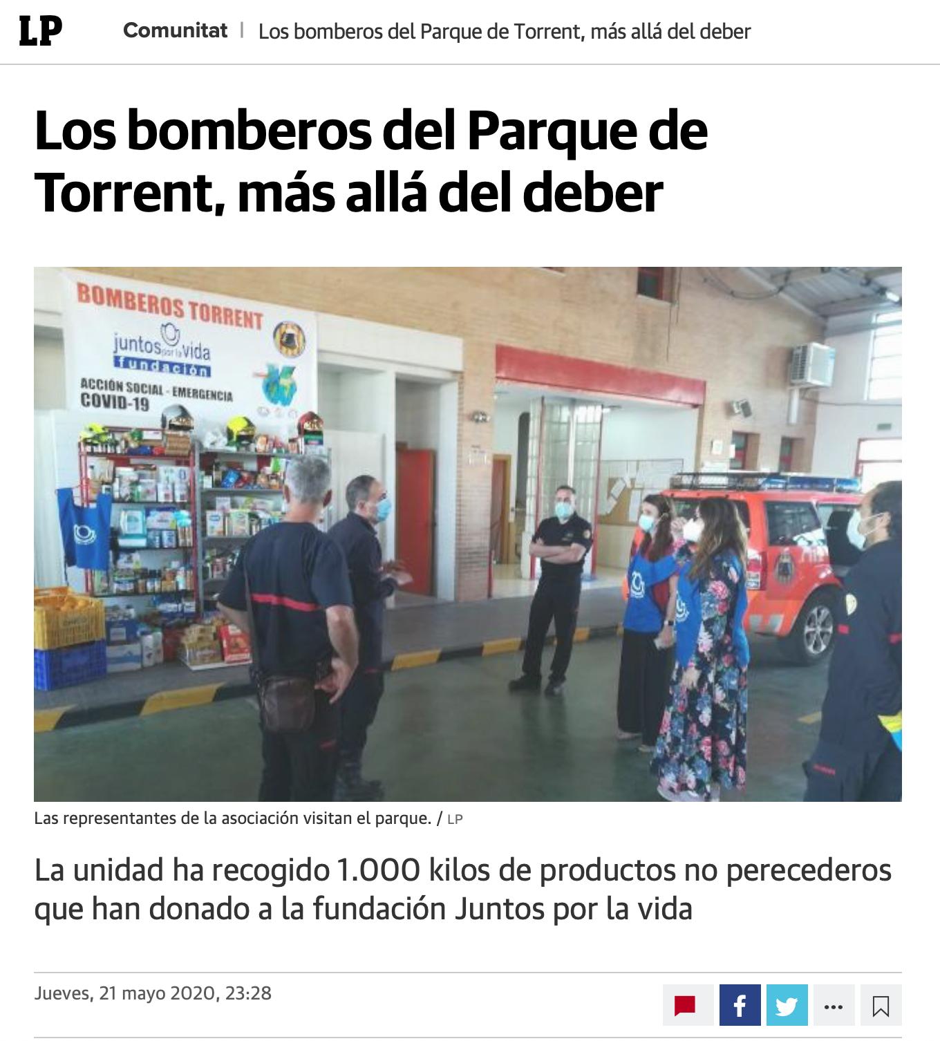 Más allá del deber. Los Bomberos del Parque de Torrent. LAS PROVINCIAS 21 MAYO.