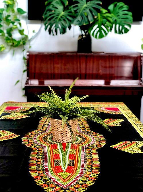 Mantel + 4 servilletas Negro Tela Wax super lux