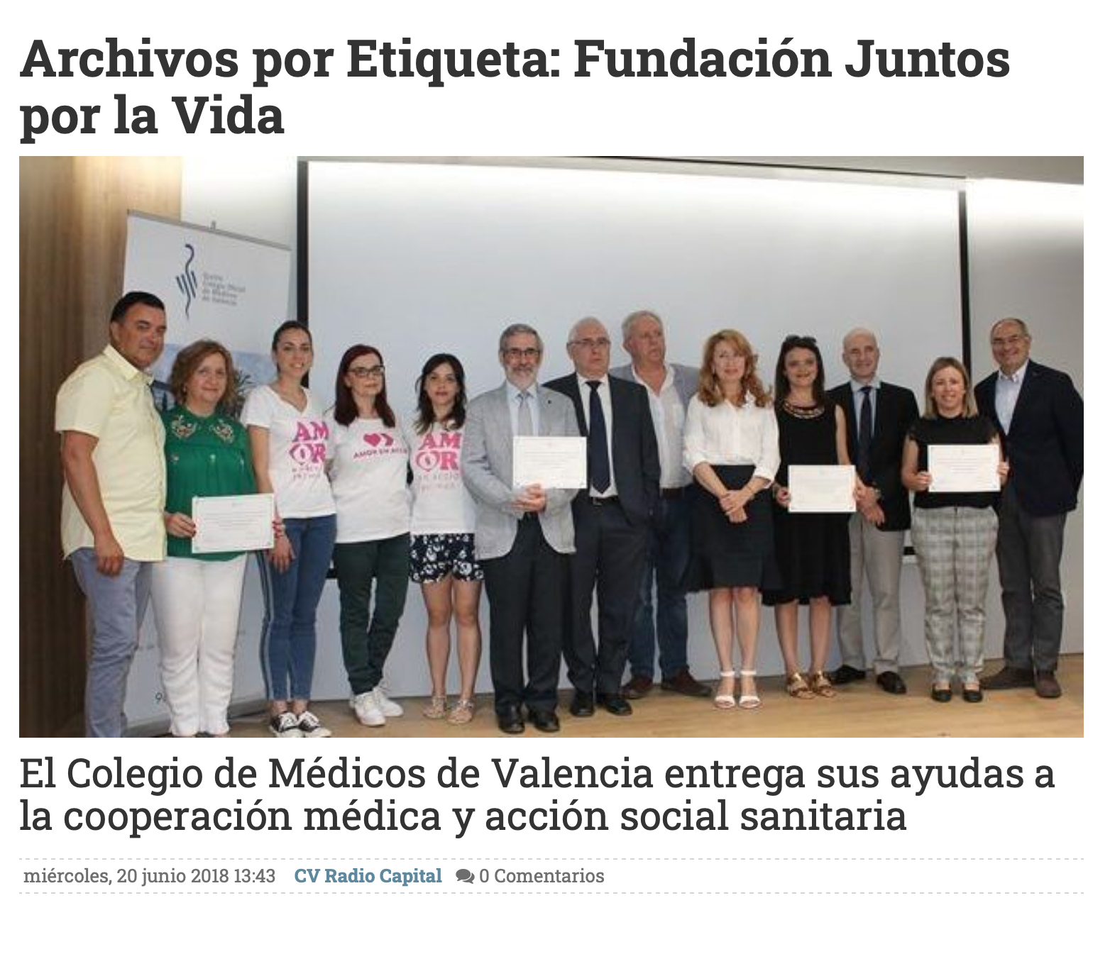 El Colegio de Médicos entrega ayuda de Cooperación Médica. CV Radio