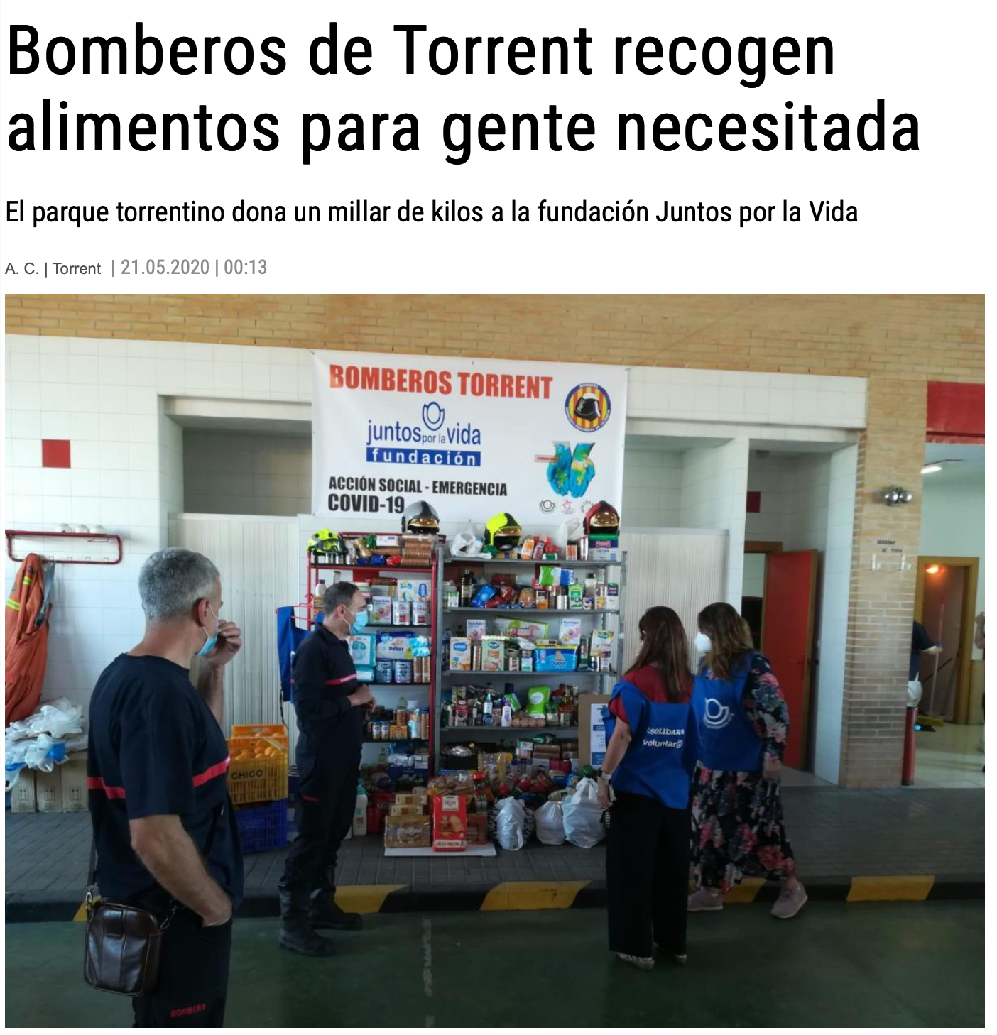 Bomberos de Torrent recogen alimentos. Levante 21 mayo