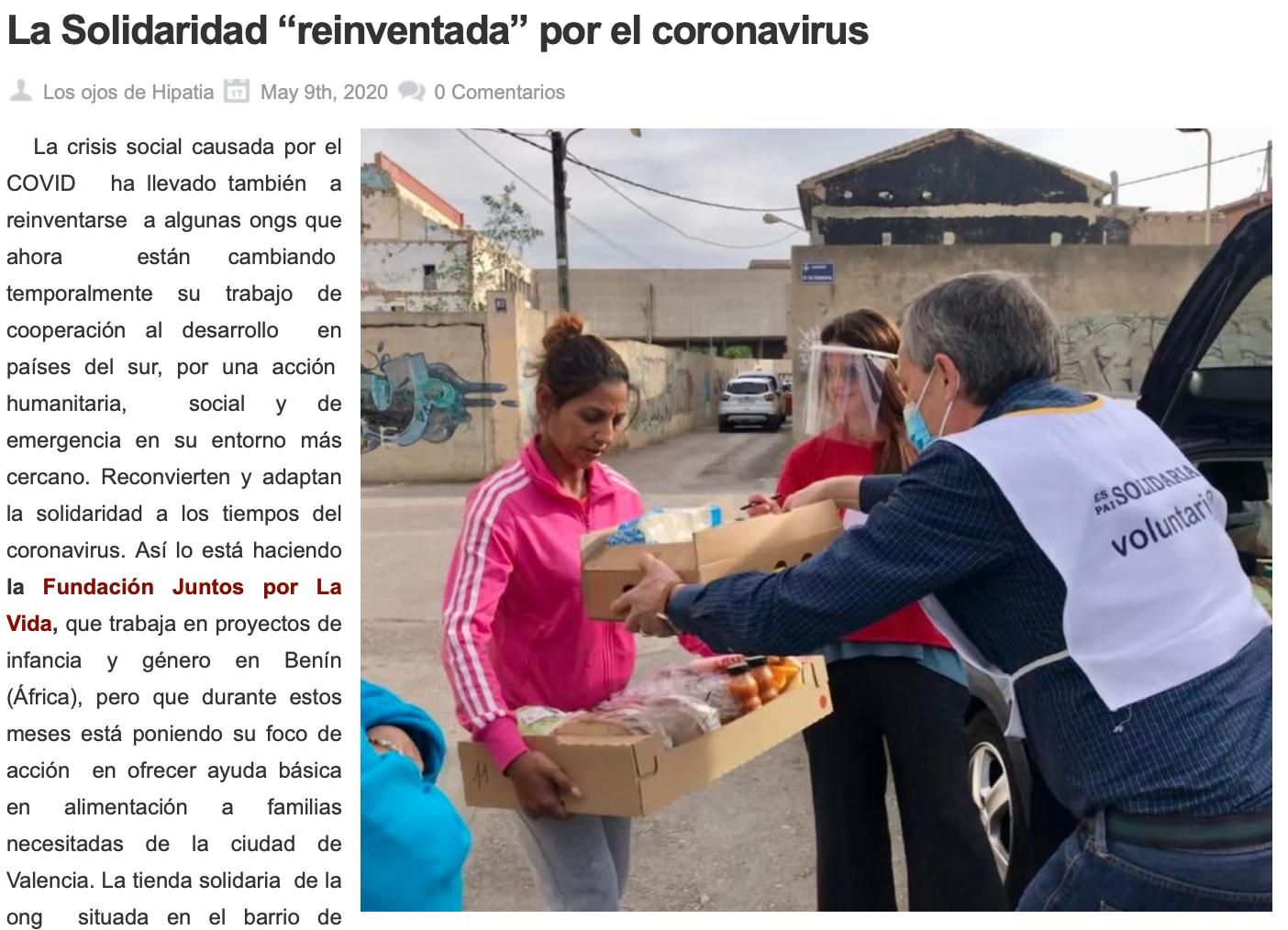 La Solidaridad Reinventada por el Coronavirus. Los Ojos de Hipatia 9 Mayo