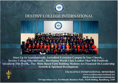 Destiny College International Bible College - Start Your Own Extention Campus.
