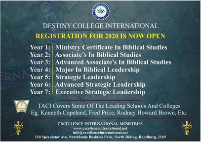 Destiny College International Bible College - Start Your Own Extention Campus.Destiny College Intern