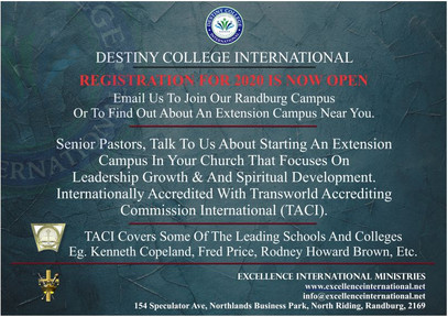 Destiny College International Start Your Own Extention Campus.