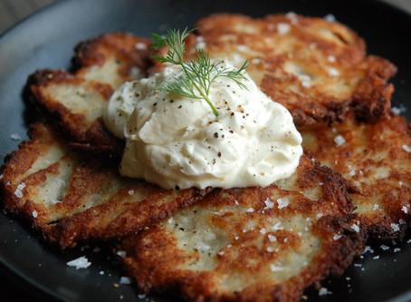 Zucchini-Potato Latkes with Tzatziki Sauce