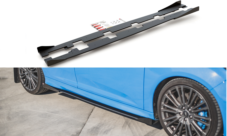 FORD FOCUS RS MK3 RACING DURABILITY SIDE SKIRTS DIFFUSERS + FLAPS