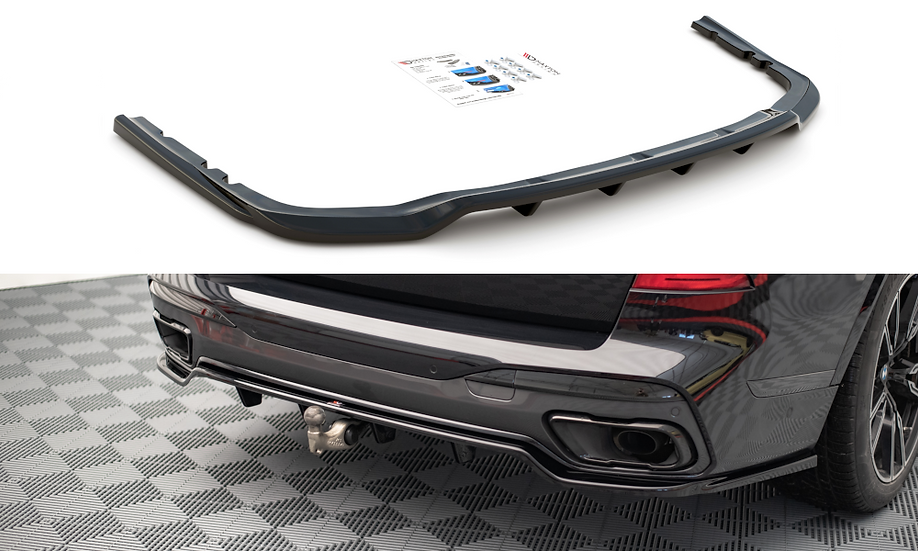 BMW X7 M G07 CENTRAL REAR SPLITTER (WITH VERTICAL BARS)