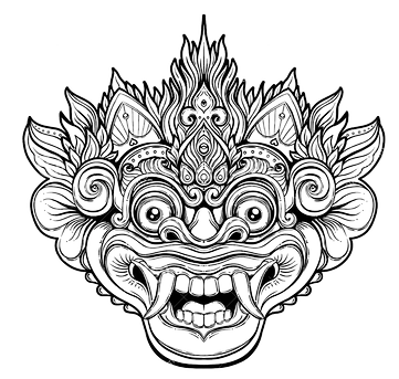 barong-traditional-ritual-balinese-mask-vector-decorative-orna-ornate-outline-illustration