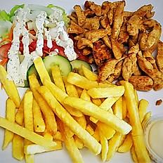 Kipfilet met frietjes, rauwkost en saus