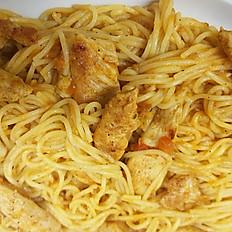 Spaghetti Bolognese met kip en gewokte groenten