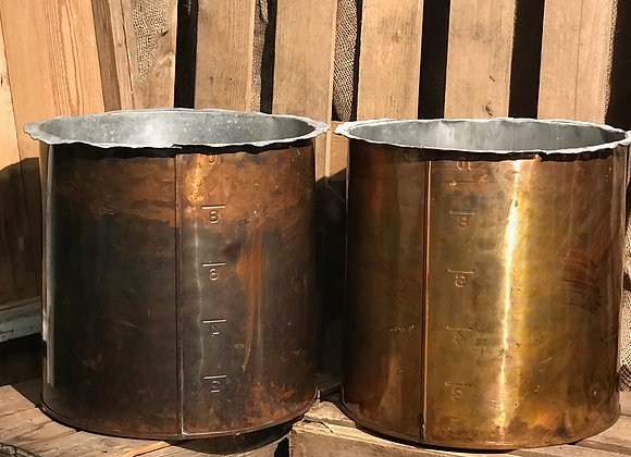 A Pair of Vintage Copper Boilers garden planters