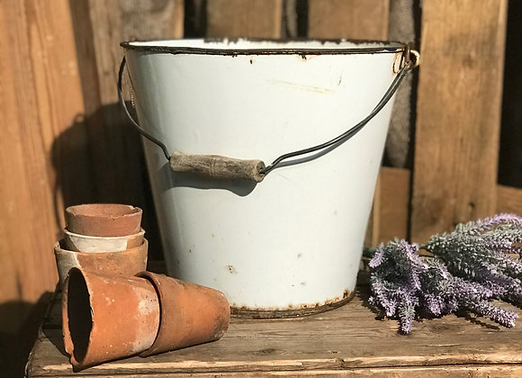 White Enamel Bucket garden flower pot