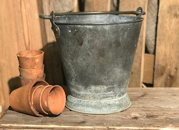 Small Galvanised Steel Bucket garden planter