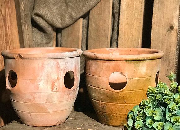 Pair of terracotta strawberry planters, unique flower pots