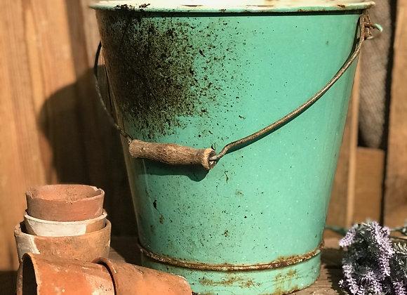 Green Enamel Bucket garden flower pot