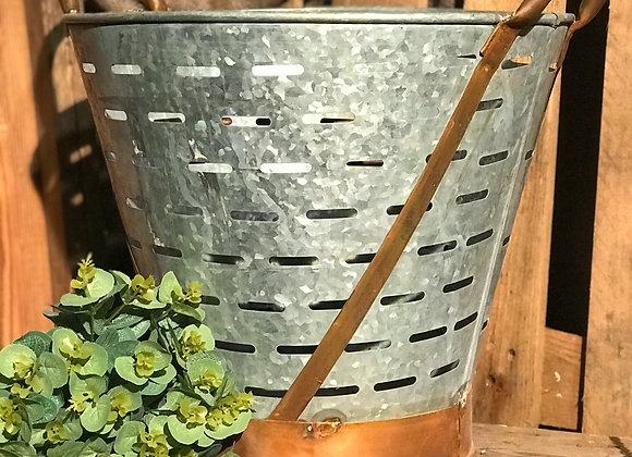 Vintage olive basket unique garden planter