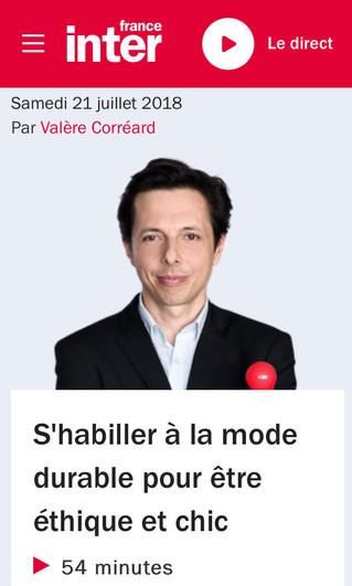 Le topo sur la mode éthique et l'évolution des tendances de consommation responsable, France Int