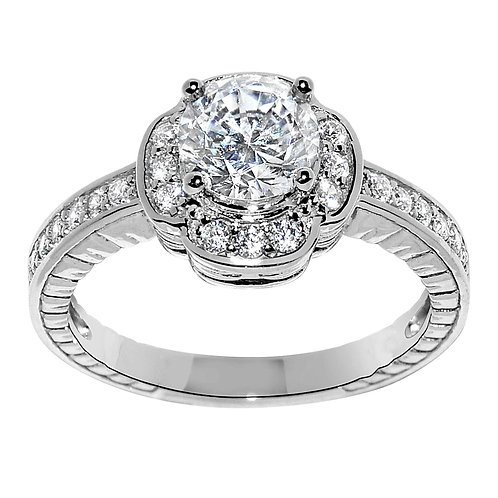 14k White Gold 1 1/3ct TGW Round-cut Diamonette Engagement Ring