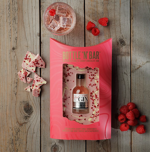 Gorgeous Bottle n Bar, 5cl Gin, Beautiful Chocolate Bar.