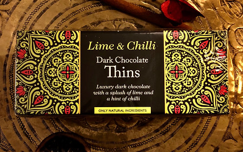 Lime & Chilli Dark Chocolate Thins 150g. Gorgeous Late At Night.