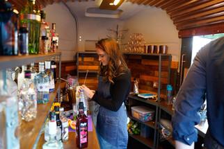 Mobile gin bar inside