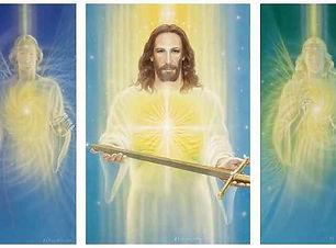 Foto Leiendecker Christus das Schwert der Wahrheit mit 2 Engeln Tryptichon Michael Raphael