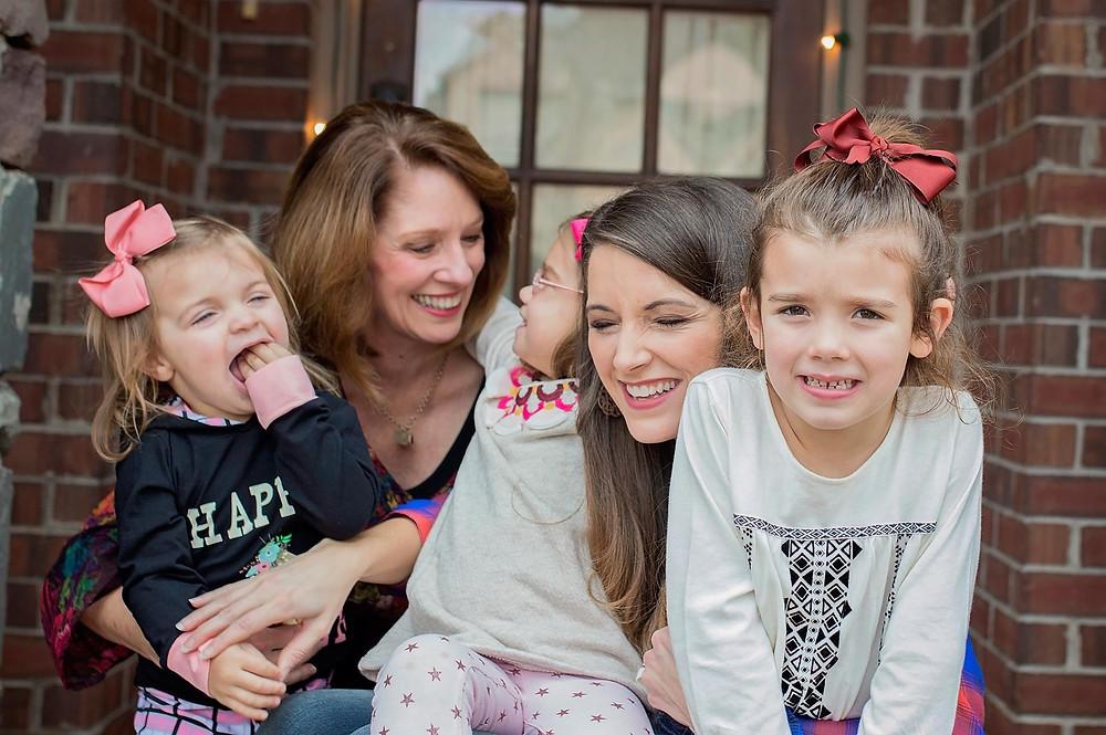 Three generations of women laughing
