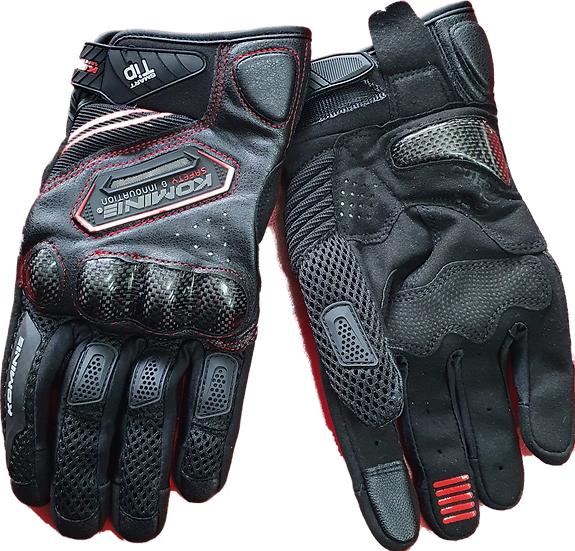 Komine Carbon / Leather / Mesh Gloves