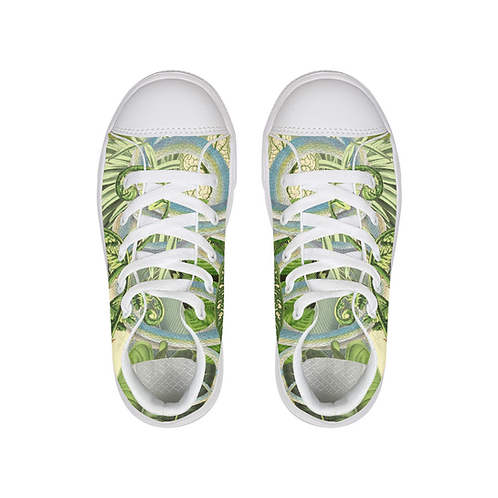 Green snake Kids Hightop Canvas Shoe